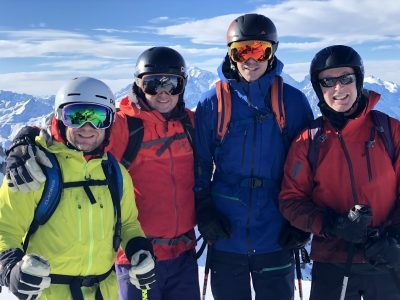 Off-piste touring happy group